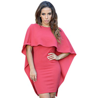 Simple Jewel Collar Pure Color Bodycon Cloaks Dress for Ladies