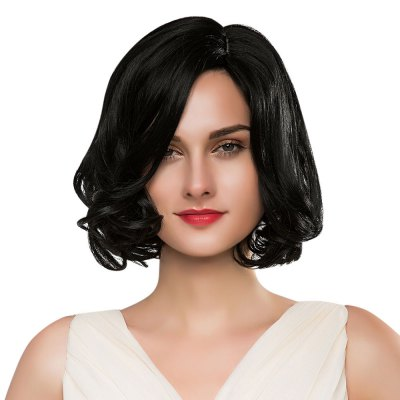 Stylish Side Bangs Short Natural Curly Black Capless Full Human Hair Wigs