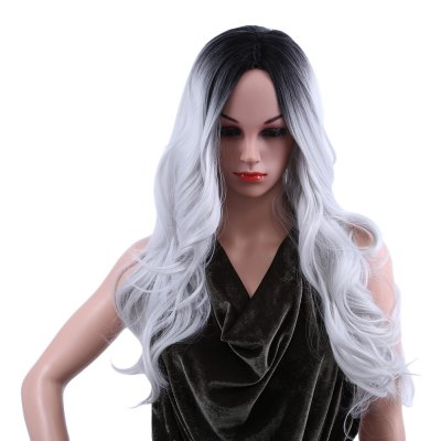 Women Ombre Long Black Mixed Grey Wigs Heat Resistant Synthetic Hair
