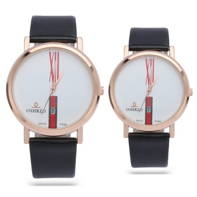 OSHRZO Fashion Couple Quartz WatchCouples Watches<br>OSHRZO Fashion Couple Quartz Watch<br><br>Band Length: men: 7.28 inch, women: 6.69 inch<br>Band Material Type: Leather<br>Band Width: men: 18mm, women: 16mm<br>Case material: Alloy<br>Case Shape: Round<br>Clasp type: Pin Buckle<br>Dial Diameter: men: 1.65 inch, women: 1.22 inch<br>Dial Display: Analog<br>Dial Window Material Type: Glass<br>Feature: Date<br>Gender: lovers,Men,Women<br>Movement: Quartz<br>Style: Simple<br>Product weight: 0.052 kg<br>Package weight: 0.073 kg<br>Product Size(L x W x H): 23.70 x 7.30 x 0.80 cm / 9.33 x 2.87 x 0.31 inches<br>Package Size(L x W x H): 24.70 x 8.30 x 1.80 cm / 9.72 x 3.27 x 0.71 inches<br>Package Contents: 1 x Couple Watch