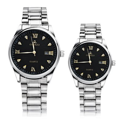 OSHRZO Chic Couple Quartz WatchCouples Watches<br>OSHRZO Chic Couple Quartz Watch<br><br>Band Length: men: 10.63 inch, women: 9.88 inch<br>Band Material Type: Stainless Steel<br>Band Width: men: 20mm, women: 18mm<br>Case material: Alloy<br>Case Shape: Round<br>Clasp type: Folding Clasp<br>Dial Diameter: men: 1.65 inch, women: 1.18 inch<br>Dial Display: Analog<br>Dial Window Material Type: Glass<br>Feature: Date<br>Gender: lovers,Men,Women<br>Movement: Quartz<br>Style: Business,Dress<br>Product weight: 0.142 kg<br>Package weight: 0.163 kg<br>Product Size(L x W x H): 27.00 x 7.20 x 1.00 cm / 10.63 x 2.83 x 0.39 inches<br>Package Size(L x W x H): 14.50 x 8.20 x 2.00 cm / 5.71 x 3.23 x 0.79 inches<br>Package Contents: 1 x Couple Watch