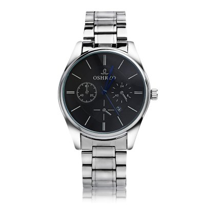 OSHRZO Fashion Male Quartz WatchMens Watches<br>OSHRZO Fashion Male Quartz Watch<br><br>Band Length: 10.63 inch<br>Band Material Type: Stainless Steel<br>Band Width: 20mm<br>Case material: Alloy<br>Case Shape: Round<br>Clasp type: Folding Clasp<br>Dial Diameter: 1.68 inch<br>Dial Display: Analog<br>Dial Window Material Type: Glass<br>Feature: Date<br>Gender: Men<br>Movement: Quartz<br>Style: Simple<br>Product weight: 0.083 kg<br>Package weight: 0.104 kg<br>Product Size(L x W x H): 27.00 x 4.40 x 1.00 cm / 10.63 x 1.73 x 0.39 inches<br>Package Size(L x W x H): 14.50 x 5.40 x 2.00 cm / 5.71 x 2.13 x 0.79 inches<br>Package Contents: 1 x Watch