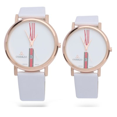 OSHRZO Fashion Couple Quartz WatchCouples Watches<br>OSHRZO Fashion Couple Quartz Watch<br><br>Band Length: men: 7.28 inch, women: 6.69 inch<br>Band Material Type: Leather<br>Band Width: men: 18mm, women: 16mm<br>Case material: Alloy<br>Case Shape: Round<br>Clasp type: Pin Buckle<br>Dial Diameter: men: 1.65 inch, women: 1.22 inch<br>Dial Display: Analog<br>Dial Window Material Type: Glass<br>Feature: Date<br>Gender: lovers,Men,Women<br>Movement: Quartz<br>Package Contents: 1 x Couple Watch<br>Package Size(L x W x H): 24.70 x 8.30 x 1.80 cm / 9.72 x 3.27 x 0.71 inches<br>Package weight: 0.073 kg<br>Product Size(L x W x H): 23.70 x 7.30 x 0.80 cm / 9.33 x 2.87 x 0.31 inches<br>Product weight: 0.052 kg<br>Style: Simple
