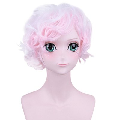 Lovely Short Gradient Pink White Wig with Side Bangs Cosplay for Danganronpa Komaeda Nagito Figure