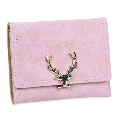 Women Christmas Elk Lock Three Fold Flip Frosted Wallet Purse