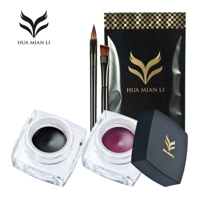 Huamianli Beauty Rainbow Matte Waterproof Eyeliner Cream Kit with 2 Brushes Glitter Colors Makeup Tools