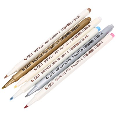 STA 6 Colors Mark Painting Metallic PenPen &amp; Pencils<br>STA 6 Colors Mark Painting Metallic Pen<br><br>Product weight: 0.039 kg<br>Package weight: 0.066 kg<br>Product Size(L x W x H): 16.50 x 0.70 x 0.70 cm / 6.5 x 0.28 x 0.28 inches<br>Package Size(L x W x H): 17.50 x 5.80 x 1.00 cm / 6.89 x 2.28 x 0.39 inches<br>Package Contents: 6 x Metallic Pen
