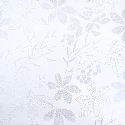 Removable Window Film Cover - White Leaves Pattern