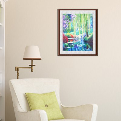 30 x 30cm 5D Woods River Painting Cross Stitch Tool