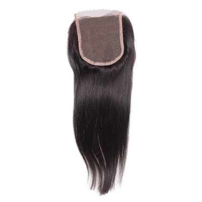 Brazilian Straight Free Part 4 x 4 Lace Closure 6A Virgin Human Hair Bleached Knots Natural 1B Color