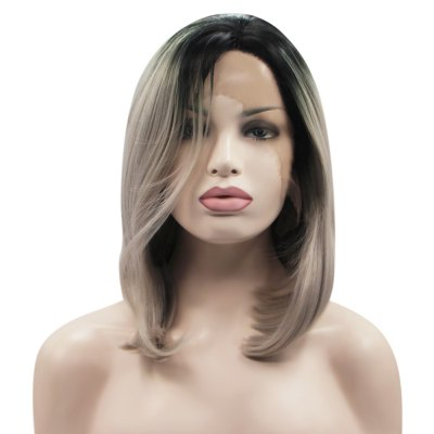 Gradient Grey Straight Synthetic Ladies Lace Front Wigs