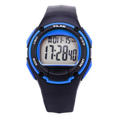 VILAM 09022 Digital Sports WatchMens Watches<br>VILAM 09022 Digital Sports Watch<br><br>Band Length: 8.47 inch<br>Band Material Type: Silicone<br>Band Width: 18mm<br>Case material: Alloy<br>Case Shape: Round<br>Clasp type: Pin Buckle<br>Dial Diameter: 1.57 inch<br>Dial Display: Digital<br>Dial Window Material Type: Plastic<br>Feature: Luminous, Led Display, Day, Date, Chronograph, Back Light, Auto Date, Alarm<br>Gender: Men,Women<br>Movement: Digital<br>Package Contents: 1 x Watch<br>Package Size(L x W x H): 9.00 x 9.00 x 8.00 cm / 3.54 x 3.54 x 3.15 inches<br>Package weight: 0.140 kg<br>Product Size(L x W x H): 25.50 x 4.00 x 1.30 cm / 10.04 x 1.57 x 0.51 inches<br>Product weight: 0.046 kg<br>Style: Sport<br>Water Resistance Depth: 50m