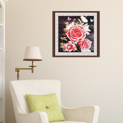 35 x 35cm rose flower painting cross stitch tool...