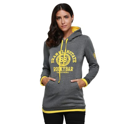 Hooded Long Sleeve Cute Pattern Print Drawstring Hoodie