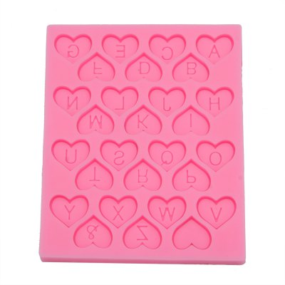 Love Heart Alphabet Letter Silicone Cake Mold