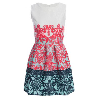 Stylish Round Collar Sleeveless Printed Color Block A-Line Women Ball Gown Dress