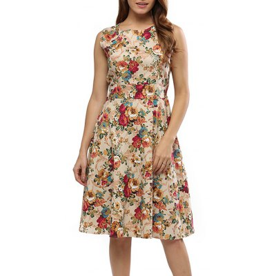 Round Collar Sleeveless Back Zipper Bowtie Lace-up Floral Print Mid-calf Women A-line Dress