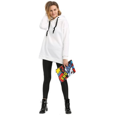 Hooded Long Sleeve Drawstring Pure Color White Hoodie