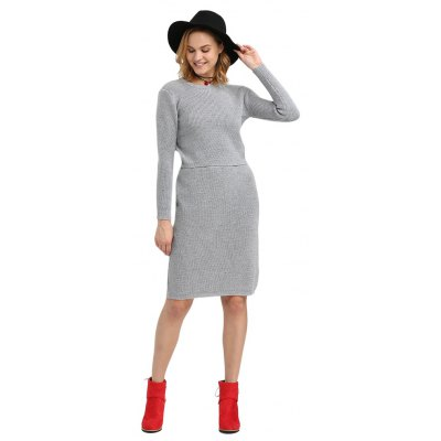 Fashion Round Collar Pure Color Knitted Women Twinset