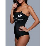 Tube Top Cat Pattern Wire Free Cute One Piece Swimsuits deal