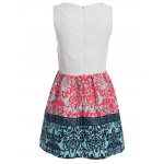 cheap Stylish Round Collar Sleeveless Printed Color Block A-Line Women Ball Gown Dress