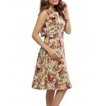Vintage Round Collar Sleeveless Back Zipper Bowtie Lace-up Floral Print Mid-calf Women A-line Dress deal