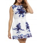 cheap Vintage Round Collar Sleeveless Floral Print A-Line Women Mini Dress