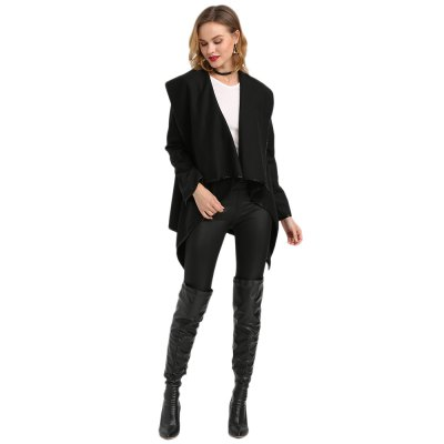 Turn-down Collar Long Sleeve Pure Color Woolen Cardigan Type Coat