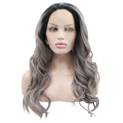 Ombre Gradient 2 Tones Dark Root T1B / Grey Loose Wave Synthetic Lace Front Wig