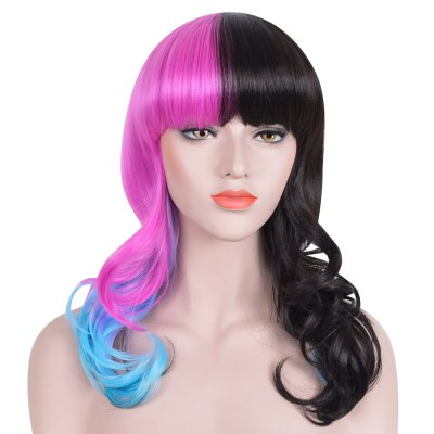 Classic Black Blue Pink Gradient Hair Long Curly Wavy Synthetic Cosplay Wigs