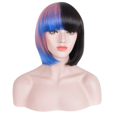 Women Bobo Gradient Blue Pink Black Hair Short Straight Synthetic Cosplay Wigs