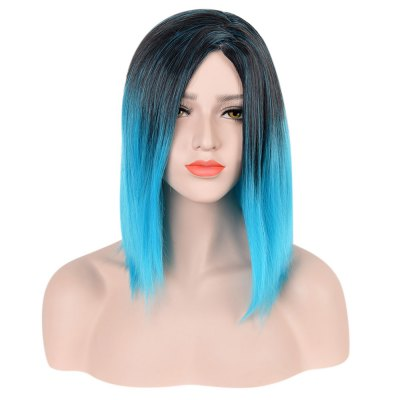 Medium Mixed Colors Gradient Blue Black Straight Synthetic Wigs