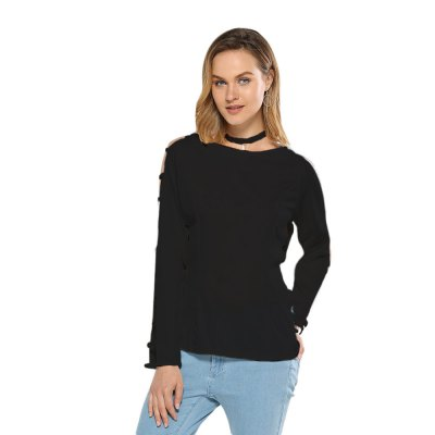 Round Collar Hollow Sleeve Pure Color Women Knitted Blouse