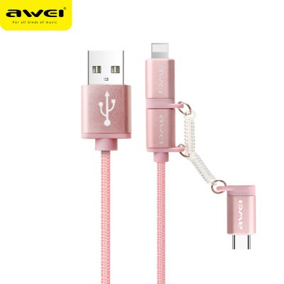 Awei CL - 990 3 in 1 2.1A Micro USB + Type-C + 8 Pin Charge Data Transfer Cable 1m