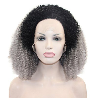 Ombre Kinky Curly Synthetic Lace Front Wig