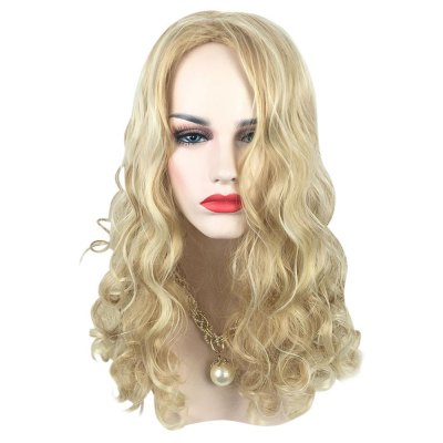 Texture Long Highlights Mixed Colors Blonde Curly Wigs Heat-resistant Synthetic