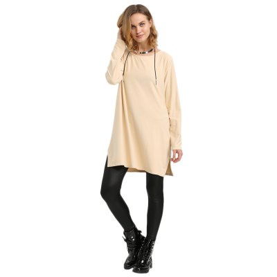 Round Collar Long Sleeve Pure Color Zipper Type Pollover Women Blouse