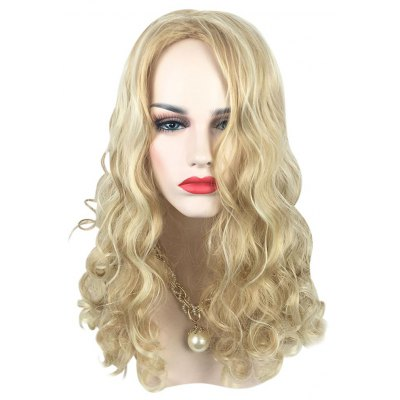 Texture Long Highlights Mixed Colors Blonde Curly Wigs