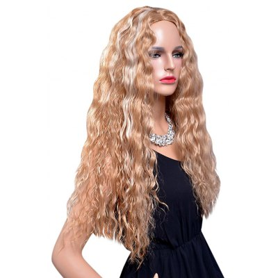 Long Natural Curly Blonde Heat Resistant Synthetic Wigs