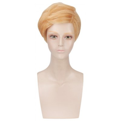 Short Natural Straight Blonde Cosplay Wigs Toupee