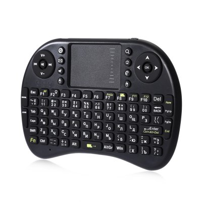 Backlight Wireless Russian Version Keyboard Touchpad MouseAir Mouse<br>Backlight Wireless Russian Version Keyboard Touchpad Mouse<br><br>Type: 2.4GHz Wireless<br>Product weight: 0.119 kg<br>Package weight: 0.198 kg<br>Product Size(L x W x H): 14.50 x 9.00 x 1.60 cm / 5.71 x 3.54 x 0.63 inches<br>Package Size(L x W x H): 20.00 x 11.00 x 3.00 cm / 7.87 x 4.33 x 1.18 inches<br>Package Contents: 1 x Keyboard, 1 x Cable, 1 x Manual ( English )