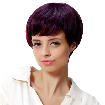 Women Short Side Bangs Mixed Colors Wine Red Wigs Heat-resistant Synthetic