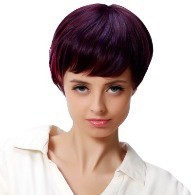 AISIHAIR Short Side Bangs Mixed Colors Wine Red Wigs