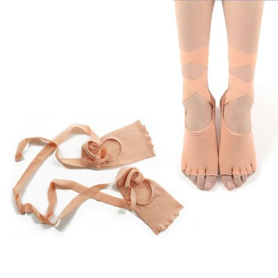 Paired Five Toe Anti-slip Yoga Dance Socks with Ribbon