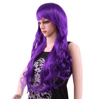 80CM Long Wavy Synthetic Wigs with Bangs