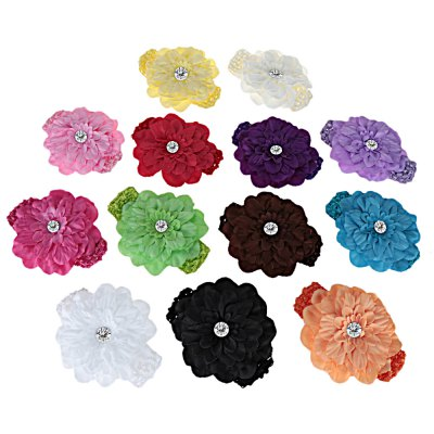 Knitted Flower Zircon Decoration Hairband for Babies