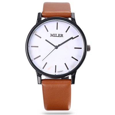 MILER A82921 Men Quartz WatchMens Watches<br>MILER A82921 Men Quartz Watch<br><br>Band Length: 8.35 inch<br>Band Material Type: Leather<br>Band Width: 18mm<br>Case material: Alloy<br>Case Shape: Round<br>Clasp type: Pin Buckle<br>Dial Diameter: 1.61 inch<br>Dial Display: Analog<br>Dial Window Material Type: Glass<br>Gender: Men<br>Movement: Quartz<br>Package Contents: 1 x Watch<br>Package Size(L x W x H): 9.00 x 8.00 x 5.50 cm / 3.54 x 3.15 x 2.17 inches<br>Package weight: 0.096 kg<br>Product Size(L x W x H): 25.50 x 4.30 x 0.80 cm / 10.04 x 1.69 x 0.31 inches<br>Product weight: 0.038 kg<br>Style: Fashion &amp; Casual
