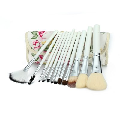 12pcs Peony Printed Case Professional Makeup Brushes Set