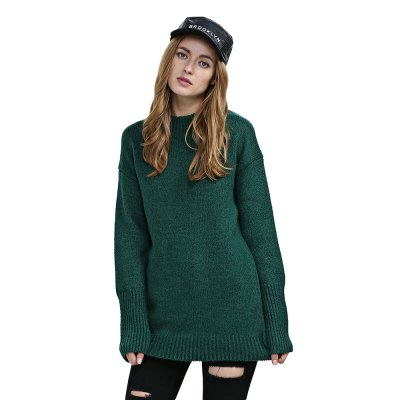 Round Collar Long Sleeve Knitted Pure Color Women Sweater