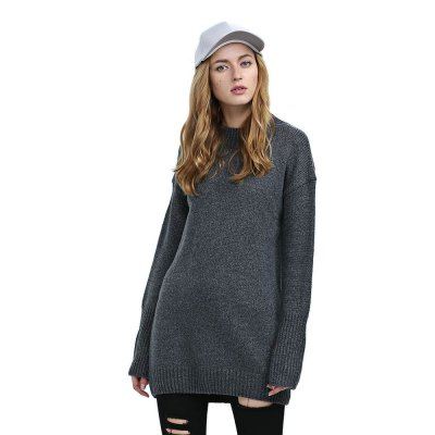 Trendy Long Sleeve Knitted Pure Color Women Sweater